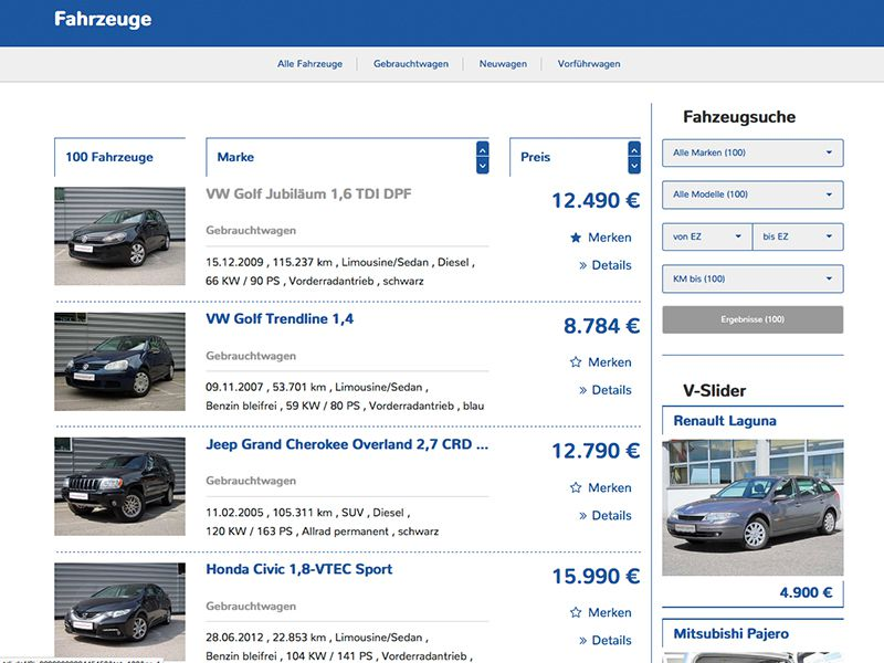 Fahrzeug-Liste 2 (mit sidebar)